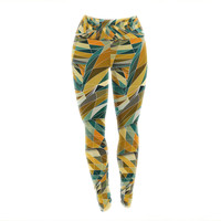 "Danny Ivan ""Bring You Back"" Yellow Teal Yoga Leggings"