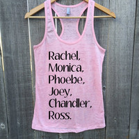 Friends TV Show Gym Gift Marathon Burnout Racerback Tank Top