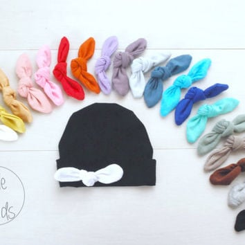 PICK your COLOUR Newborn outfit newborn girl baby hat with Tied KNOT baby hat baby hat newborn baby hospital hat baby hat