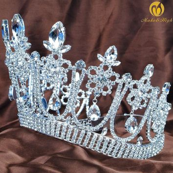 Gorgeous Flower Large Tiara Diadem Wedding Brides Crown Crystal Rhinestones Headpiece Prom Costumes Hair Accessories