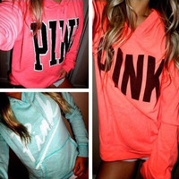 PINK Victoria's Secret Print Long Sleeve Hoodie Sweatshirt Sweater Top