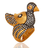 18K Yellow Plated Sterling Silver CZ And Crystal Quartz Duck Design Ring