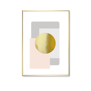 Pastel Purple Circle Shapes, Modern Art Poster, Gold Circle Print, Real Gold Foil, Shapes Print, Geometric Poster, Home Decor, Modern Art,