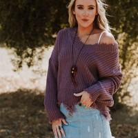 Rori Frayed V Neck Sweater - Lavender