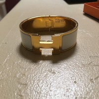 NEW HERMES Clic Clac H wide PM white enamel gold hardware bracelet with box