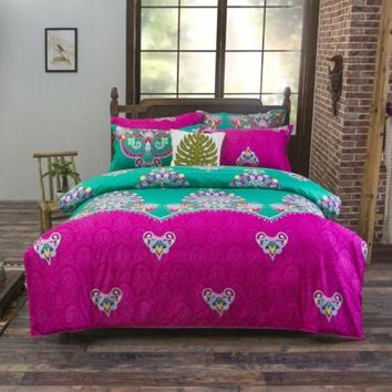3-4pcs Bohemian Bedding Sets 100% Polyester Bed Linens Floral Printed Sheet Pillowcase Duvet Cover Sets For Kids Adults XF311-3
