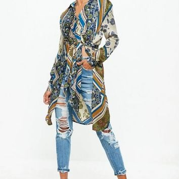 Missguided - Cream Long Line Scarf Print Tie Front Shirt