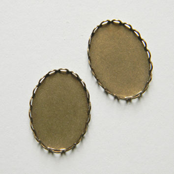 Brass Ox Setting Oval Filigree Lace Edge 25mm x 18mm - 6 pcs.