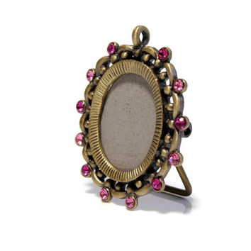 Picture Frame, Pendant, Locket, Rhinestone Pendant, Pink Rhinestone, Brass Frame, Vintage Jewelry, Gift, Mothers Day, Christmas, Girlfriend