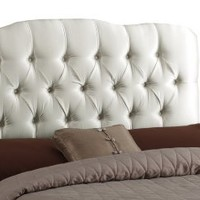 Skyline Furniture Surrey Queen Shantung-Upholstered Tufted Headboard, Parchment