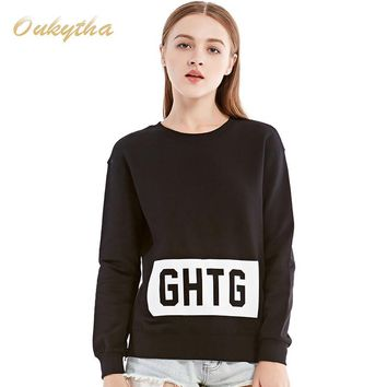 Fashion Leisure Loose Women Letter T Shirt Classic Monogrammed Cotton Zipper Tops Black
