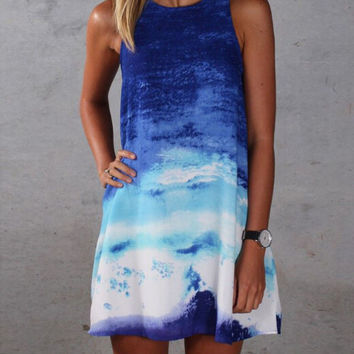 Ombre Sleeveless Loose Mini Dress