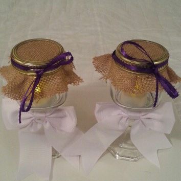 Burlap white Purple wedding candle jar / center piece set. Any color to match your wedding
