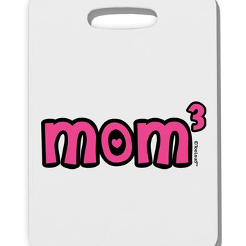 Mom Cubed - Cute Mom of Three Design Thick Plastic Luggage Tag by TooLoud