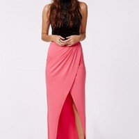 Missguided - Matora Wrap Front Split Maxi Skirt Pink
