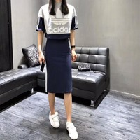 """Adidas"" Women Casual Fashion Multicolor Stripe Letter Logo Print Short Sleeve Skirt Set Two-Piece Sportswear"