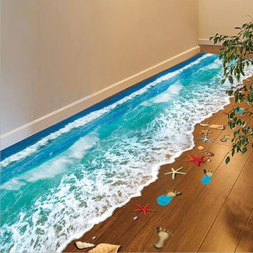 Top Selling Creative 3D Wall Stickers Starfish Footprint Beach Bathroom Floor Sticker Sea Vinilos Paredes Kids Poster WT171