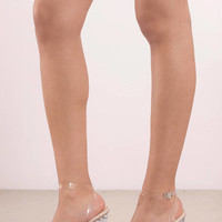 Mono Lucite Ankle Strap Heels