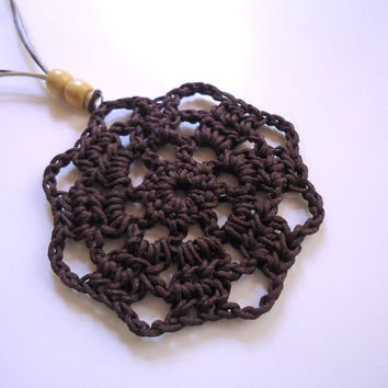 Crochet necklace,long beaded necklace,brown necklace,crochet pendant,cord necklace,women's jewelry,boho necklace,flower necklace