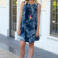 Luna Tie Dye Tank Dress- BLUE