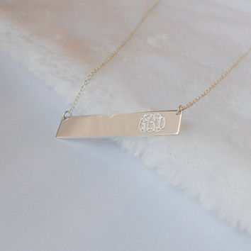 Sterling Silver Bar Necklace, Monogram Initial Bar Necklace,Name Bar Necklace,Personalized Nameplate Bar Necklace,Silver Bar Jewelry
