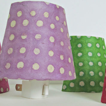 Lavender Night Light Lamp Shade with Plug - Purple and White Polka Dots - Baby Girl Nursery or Childrens Night Lights - Nightlight