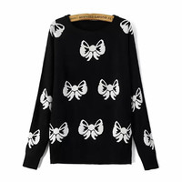 Black Bow Print Loose Sweater