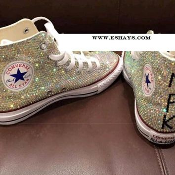 AB Sparkly High Top Converse with Initials on Back