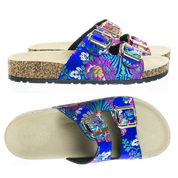 Defeat14 Blue Embroidered By Bamboo, Molded Footbed, Casual Slide In 2 strap Cork Platform Flat Sandal