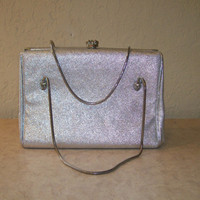 Vintage Clutch, After 5 Brand Silver Bag Rhinestone Encrusted Clasp, Snakechain Handles, Satin Interior with Attached Change Purse