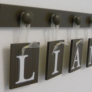 Alphabet Letters Hanging Ribbon Nursery Decor Baby Name LIAM with 4 Wooden Hanger Brown