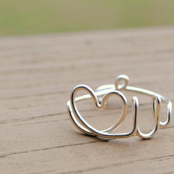 Wire Wrapped Ring Mothers Day Love You by KissMeKrafty on Etsy