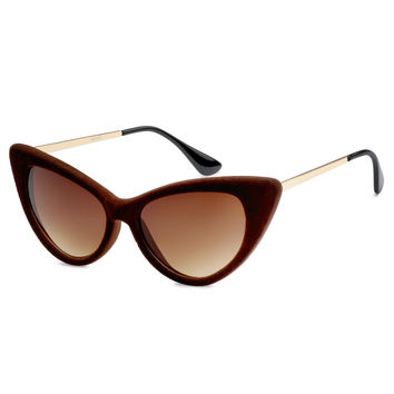 Brown Velvet Cat Eye Sunglasses