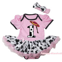 Light Pink Girls Bodysuit Cowgirl Braid 1ST Birthday Milk Cow Baby Dress NB-18M MAJSA0614