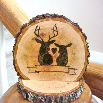 Personalized Rustic Cake Topper Wedding Wood Burned Deer