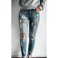 VIRTUE DISTRESSED MID RISE SUPER SKINNY