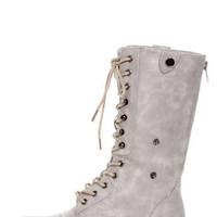 Bamboo Surprise 01 Stone Grey Lace-Up Convertible Combat Boots