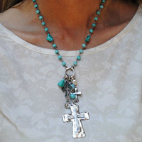 Turquoise Cross Necklace with Charms