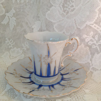 Vintage Japan Hand Painted Flower Shaped Demitasse Tea Cup and Saucer Embossed Floral Petals Blue Gold Designs Espresso Shot Cup Collectible