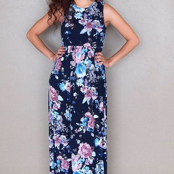 Temptation Island Navy Blue Floral Print Long Maxi Dress
