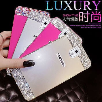 Pen & Diamond Bling Crystal Bumper Frame & PC Back Cover For Samsung Galaxy A8 A8000 J5 J500/F & J7 J700/F