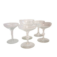 Vintage Champagne Coupe Set of (5) Mixed Champagne Glasses, Instant Collection