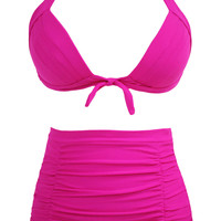 Solid Rosy Pleated High Waist Bikini Swimsuit