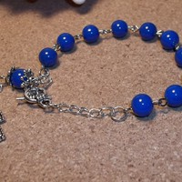 Blue Glass Beaded Silver Plated Hand Crafted Rosary Bracelet