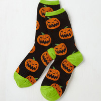 Pumpkin Carving Party Socks Size OS by ModCloth