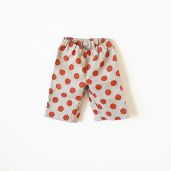 Girls Polka Dot Summer Shorts, Linen shorts, Red Dot Short pants, Children shorts, 2T-5T, Free Shipping!