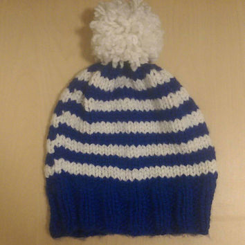 Blue and White Winter Hat, Blue and White Beanie, Striped Winter Hat, Unisex Winter Hat for Men and Women