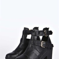 Courtney Cut Work Buckled Cleated Boot