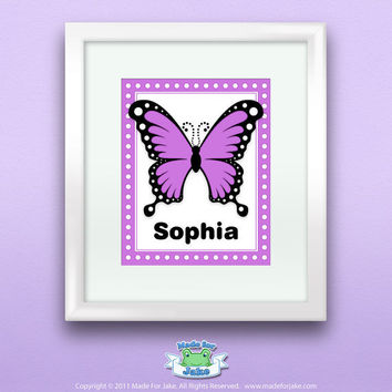 Personalized Purple Swallowtail Butterfly Print by Madeforjake