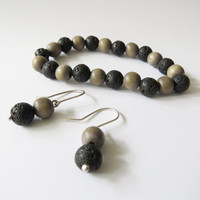 Lava and Wood Jewelry Gift set inspired by iceland - Lava & Greyish 8mm beaded Stretch, silver earrings in same style
